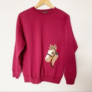 Hunt Club S Wine Crew Sweater Horse Floral Patch